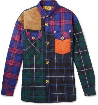 Versace Quilted Panelled Checked Wool-Blend Shirt Jacket
