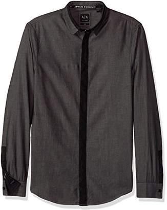 Armani Exchange A|X Men's Black Chambray Slim Fit Long Sleeve Woven
