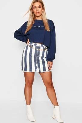 boohoo Plus Stripe Denim Skirt