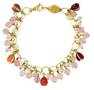 Faberge Enamel, Moonstone & Quartz Charm Bracelet