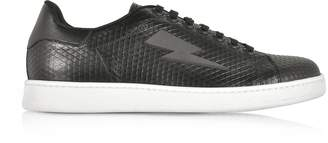 Neil Barrett Black Embossed Leather Thunderbolt Tennis Sneakers