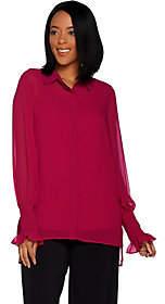 Susan Graver Sheer Chiffon Button Front Shirt& Knit Tank Set