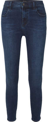 J Brand Alana Cropped High-rise Stretch Skinny Jeans - Dark denim