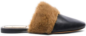 Givenchy Leather Bedford Mink Fur Trim Flat Mules
