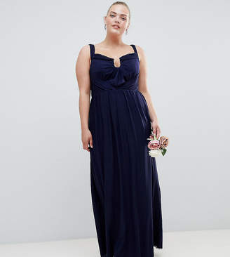 Asos DESIGN Curve Bridesmaid ruched mesh bardot maxi dress