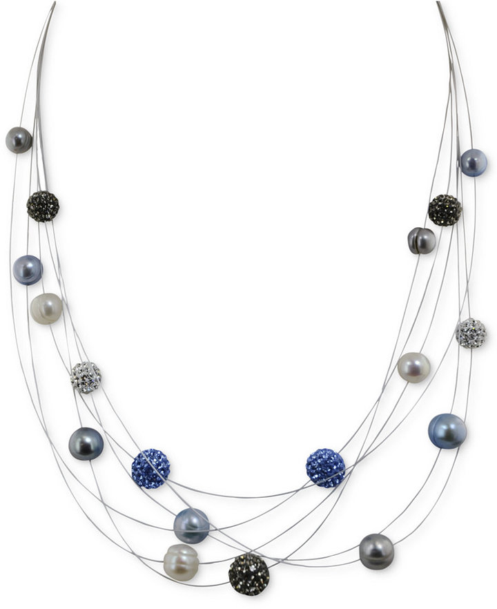 Honora Style Cultured Freshwater Pearl and Blue Crystal 6-Row Necklace in Sterling Silver