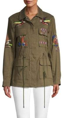 Peserico Alina Embroidered Twill Military Jacket