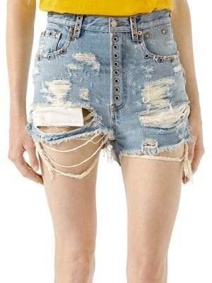 Gucci Shredded Bleached Denim Shorts