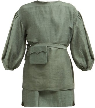Rhode Resort Marli Layered Slubbed Silk Mini Dress - Womens - Dark Green