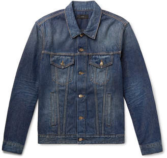 Alanui Intarsia Wool Blend-Panelled Denim Jacket - Men - Blue