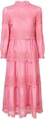 Vilshenko lace panel midi dress
