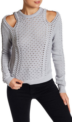 Minnie Rose Cold Shoulder Open-Knit Sweater $196 thestylecure.com