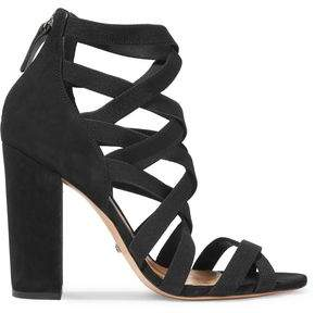 Schutz Lace-Up Nubuck And Twill Sandals