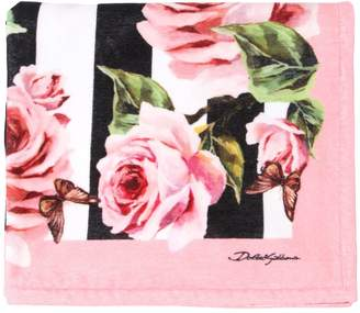 Dolce & Gabbana Roses Cotton Terrycloth Beach Towel