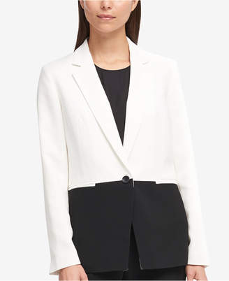DKNY Colorblocked One-Button Blazer, Created for Macy's