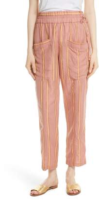 Apiece Apart Daniela Metallic Stripe Ankle Pants