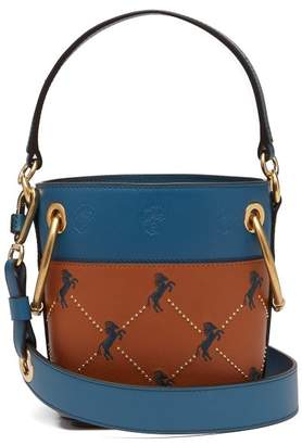 Chloé Roy Little Horse Embroidered Leather Bucket Bag - Womens - Tan Multi