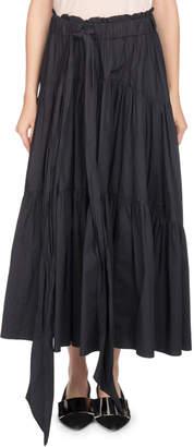 Proenza Schouler Long Tiered Poplin A-Line Skirt