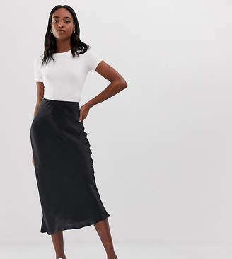 Asos Tall DESIGN Tall bias cut satin slip midi skirt