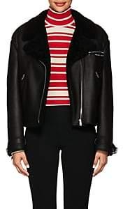 Prada Women's Logo Shearling Moto Jacket - Black