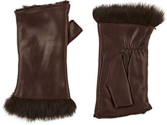 Barneys New York Women's Rabbit-Fur-Lined Leather Fingerless Gloves