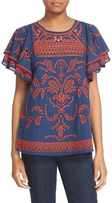 Women's Parker 'Mara' Embroidered Flutter Sleeve Top $265 thestylecure.com
