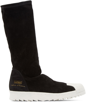 Rick Owens Black Superstar Ripple adidas by Rick Owens Sneakers $975 thestylecure.com