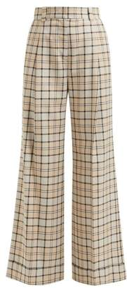 See by Chloe Checked Twill Wide Leg Trousers - Womens - Beige Multi