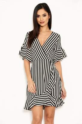 AX Paris Womens Stripe Wrap Dress - Black