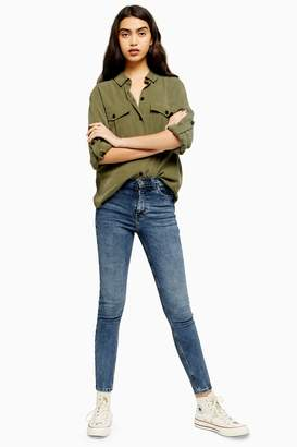 Topshop Womens Mid Blue Ripped Waist Jamie Jeans - Mid Stone