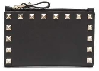 Valentino Rockstud Leather Cardholder - Womens - Black
