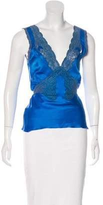 Blumarine Silk Lace-Trimmed Top
