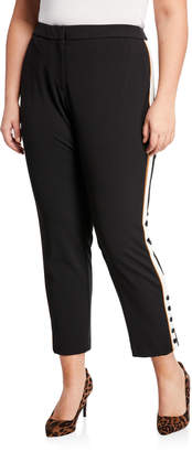 Iconic American Designer Contrasting-Stripe Ankle Crepe Pants, Plus Size