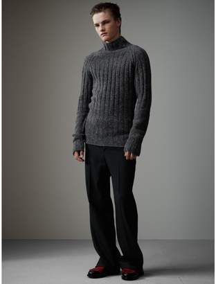 Burberry Rib Knit Wool Cashmere Turtleneck Sweater