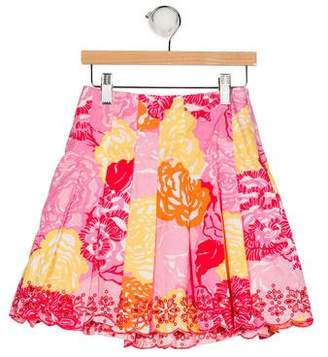 Lilly Pulitzer Girls' Floral Print Eyelet Skirt