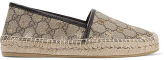 Gucci Leather-trimmed Printed Coated-canvas Espadrilles - Beige