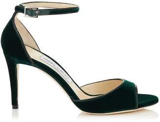 Jimmy Choo ANNIE 85 Bottle Green Velvet Peep Toe Sandals