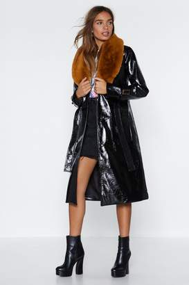 Nasty Gal Falling Fur You Faux Fur Trench Coat