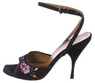 Miu Miu Embroidered Suede Sandals