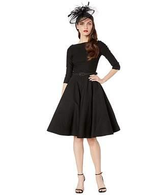 Unique Vintage 1950s Style Stretch Sleeved Devon Swing Dress