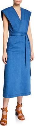 Derek Lam Sleeveless Denim Wrap Dress