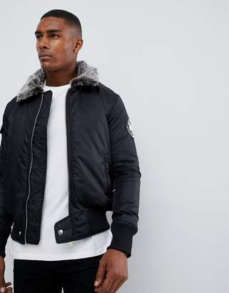 Good For Nothing bomber jacket in black with faux fur collar