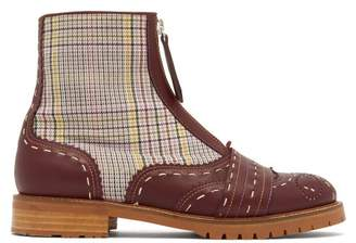 Gabriela Hearst - Marcela Contrast Check Leather Boots - Womens - Burgundy Multi