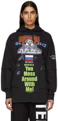 Vetements Black Russia Patchwork Hoodie