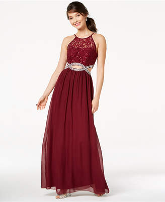 Speechless Juniors' Sequined Lace Infinity Gown