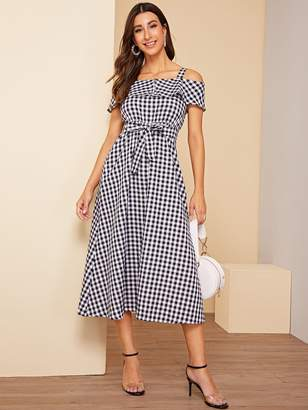 Shein Gingham Print Belted Long Dress