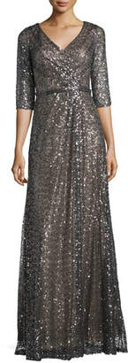 La Femme 3/4-Sleeve Sequined Mesh Gown, Charcoal