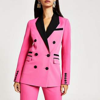 River Island Pink colour blocked double breasted blazer