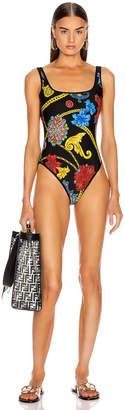 Versace Jewel One Piece Swimsuit in Black Multi | FWRD