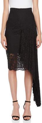 Milly Black Asymmetrical Lace Midi Skirt